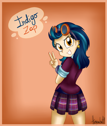 Size: 1024x1210 | Tagged: artist:strawberrycat14, clothes, ear piercing, earring, equestria girls, friendship games, goggles, gradient background, indigo zap, jewelry, looking at you, looking back, looking back at you, looking over shoulder, over shoulder, peace sign, piercing, safe, school uniform, solo