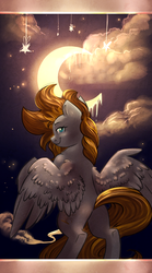 Size: 1024x1845 | Tagged: safe, artist:segraece, oc, oc only, oc:golden rain, pegasus, pony, epic, looking at you, melting, moon, night, solo, standing