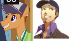 Size: 446x255 | Tagged: safe, free throw, princess spike (episode), comparison, junpei iori, persona, persona 3, ponified, shin megami tensei, the fresh prince of bel-air