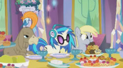 Size: 638x356   Tagged: safe, screencap, cranky doodle donkey, derpy hooves, dj pon-3, vinyl scratch, bird, donkey, pegasus, pony, unicorn, no second prances, discovery family logo, donald chirp, female, food, male, mare, muffin, songbird, wig