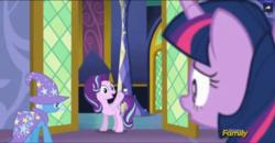 Size: 1033x537 | Tagged: safe, screencap, starlight glimmer, trixie, twilight sparkle, alicorn, pony, no second prances, animation error, counterparts, discovery family logo, female, hornless unicorn, magical trio, mare, missing horn, twilight sparkle (alicorn), twilight's counterparts