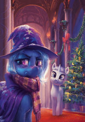 Size: 4134x5906 | Tagged: safe, artist:hunternif, trixie, oc, pony, unicorn, fanfic:equestrian tales, absurd resolution, bow, c:, candle, christmas, christmas tree, clothes, cold, cute, fanfic art, featured image, female, frown, glasses, head tilt, hearth's warming, hearth's warming eve, looking at you, looking away, mare, red nosed, scarf, sick, smiling, snow, tree, trixie's cape, unamused