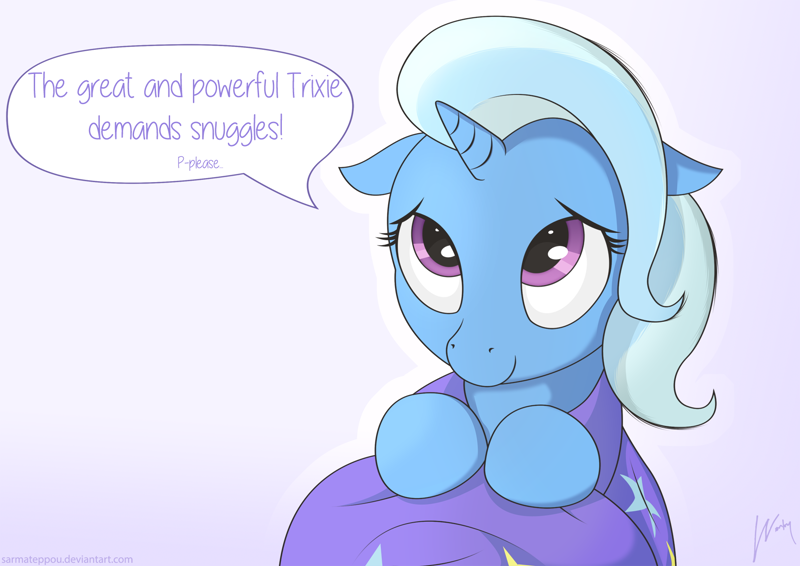 Size: 1280x905 | Tagged: artist:wonkysole, bronybait, cape, clothes, cute, dialogue, diatrixes, event horizon of cuteness, featured image, female, floppy ears, great and powerful, hnnng, hug request, mare, pony, safe, snuggles?, solo, speech bubble, trixie, trixie's cape, trixie's hat, unicorn