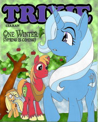 Size: 2200x2736 | Tagged: safe, artist:ciaran, derpibooru exclusive, applejack, big macintosh, trixie, earth pony, pony, unicorn, comic:one winter, angry, apple tree, female, heart eyes, male, mare, shipping, stallion, straight, tree, trixmac, wingding eyes