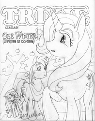 Size: 2000x2550 | Tagged: angry, applejack, apple tree, artist:ciaran, big macintosh, comic:one winter, derpibooru exclusive, earth pony, grayscale, heart eyes, male, monochrome, pony, safe, shipping, simple background, stallion, straight, traditional art, tree, trixie, trixmac, wingding eyes