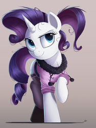 Size: 1500x2000 | Tagged: safe, artist:ncmares, rarity, pony, unicorn, clothes, cute, female, looking at you, mare, raised hoof, raribetes, smiling, socks, solo, stockings, thigh highs