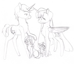Size: 962x830 | Tagged: safe, artist:wildnature03, comet tail, twilight sparkle, oc, alicorn, pony, cometlight, family, female, male, mare, monochrome, offspring, parent:comet tail, parent:twilight sparkle, parents:cometlight, shipping, sketch, straight, traditional art, twilight sparkle (alicorn)