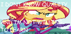 Size: 1273x608 | Tagged: safe, edit, edited screencap, screencap, sunset shimmer, equestria girls, friendship games, angry, caption, meme, solo, sunset is not willing to learn, wrong aspect ratio