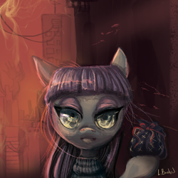 Size: 2230x2230 | Tagged: safe, artist:trojan-pony, maud pie, the gift of the maud pie, female, fire, rock pouch, scene interpretation, solo, the fire in her eyes