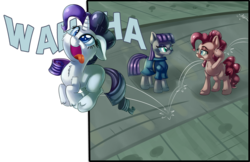 Size: 4000x2590 | Tagged: safe, artist:discorded, maud pie, pinkie pie, rarity, pony, the gift of the maud pie, absurd resolution, behaving like pinkie pie, breaking the fourth wall, cross-eyed, cute, eye contact, floppy ears, fluffy, hypocritical humor, open mouth, pinkie pie is not amused, pronking, raised eyebrow, rarara, role reversal, silly, silly pony, smiling, tongue out, unamused, wahaha