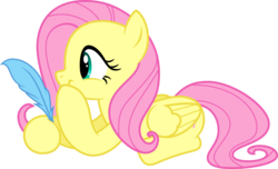 Size: 4200x2550   Tagged: safe, artist:cencerberon, fluttershy, pegasus, pony, idw, spoiler:comic16, .svg available, female, idw showified, mare, prone, quill, show accurate, simple background, smirk, solo, transparent background, vector
