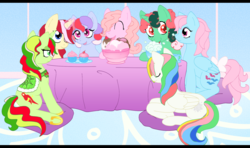 Size: 1797x1062   Tagged: safe, artist:vysevee, fizzy, lickety split, mimic (g1), moondancer (g1), starshine, sweet stuff, wind whistler, earth pony, pegasus, pony, twinkle eyed pony, unicorn, g1, g4, aura, bow, cherry, clothes, cupcake, cute, eyes closed, female, fizzybetes, folded wings, food, g1 dancerbetes, g1 licketybetes, g1 to g4, generation leap, horseshoes, ice cream, lying down, magic, mare, milkshake, mimicbetes, open mouth, open smile, plate, prone, saddle, sleeping, smiling, stawwrshine, sweet sweet stuff, table, tack, tail bow, tea, telekinesis, whistlerbetes, wings