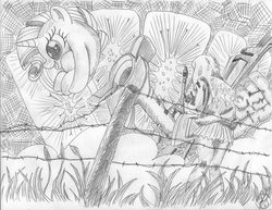 Size: 3295x2539 | Tagged: safe, artist:ciaran, derpibooru exclusive, rarity, cat, human, the gift of the maud pie, barb wire, cannon, canti, crosshatch, crossover, explosion, fence, flcl, meme, monochrome, rariball, samejima mamimi, sketch, traditional art