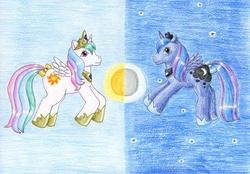 Size: 1024x711   Tagged: safe, artist:normaleeinsane, princess celestia, princess luna, alicorn, pony, g1, bow, cute, cutelestia, duo, g4 to g1, generation leap, lunabetes, moon, royal sisters, sisters, stars, sun, tail bow, traditional art