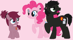 Size: 728x403 | Tagged: artist:machikochan, crossover, crossover shipping, dan, dan pie, dan vs, female, male, oc, offspring, parent:dan, parent:pinkie pie, parents:dan pie, pinkie pie, ponified, safe, shipping, simple background, straight