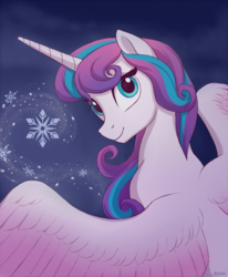 Size: 680x827   Tagged: safe, artist:akeahi, princess flurry heart, alicorn, pony, female, looking at you, mare, older, smiling, snow, snowflake, solo
