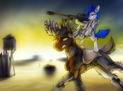 Size: 3482x2570 | Tagged: safe, artist:ralek, oc, oc only, oc:sapphire sights, moose, pony, fallout equestria, .50 cal, armor, barbed wire, bipedal, bipod, drive me closer, fluffy, frown, glare, gritted teeth, gun, hoof hold, m82a3, no trigger discipline, one eye closed, ponies riding ponies, rifle, running, saddle, scope, size difference, smirk, sniper, sniper rifle, tack, wasteland, weapon, wing hands, wink