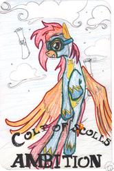 Size: 1531x2300 | Tagged: safe, artist:ciaran, derpibooru exclusive, scootaloo, pegasus, pony, cloud, crayons, flying, goggles, older, older scootaloo, scootaloo can fly, scroll, solo, tarot card, traditional art, wonderbolt scootaloo, wonderbolts uniform
