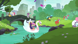 Size: 1920x1080 | Tagged: safe, screencap, b. sharp, luckette, neigh sayer, orange sherbet, pinot noir, shiraz, silver berry, strawberry ice, swanky hank, earth pony, pony, the gift of the maud pie, background pony, boat, bridge, corral park, cute, female, heart glasses, kite, male, manehattan, mare, park, river, stallion, swan boat
