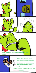 Size: 744x1519 | Tagged: door, earth pony, it makes sense in context, oc, oc:anon, ponified, pony, safe