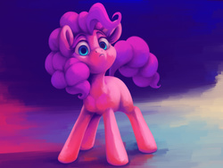 Size: 2000x1500 | Tagged: safe, artist:verulence, pinkie pie, female, frown, looking at you, solo, unamused, when she doesn't smile, wide eyes