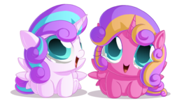 Size: 1037x601 | Tagged: safe, artist:berrypawnch, princess flurry heart, princess skyla, pony, baby, baby pony, berrypawnch is trying to murder us, crystal sisters, cute, flurrybetes, foal, simple background, skylabetes, transparent background