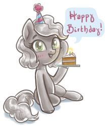Size: 767x894 | Tagged: safe, artist:mcponyponypony, carrot cake, oc, oc only, oc:nickel, object pony, original species, cake, cute, element pony, food, happy birthday, ponified, solo