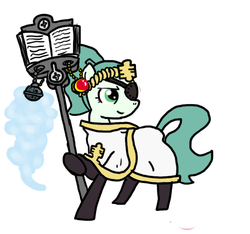 Size: 640x600 | Tagged: adult, alternate costumes, alternate hairstyle, alternate timeline, alternate universe, alternate version, amulet, artist:ficficponyfic, book, boots, clothes, colt quest, determined, ending, eyepatch, future, incense, mage, male, missing eye, oc, oc:emerald jewel, oc only, pony, possible spoilers, preview, robe, safe, smiling, staff, stallion, standard bearer, thurible