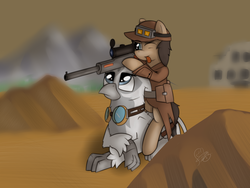 Size: 4000x3000 | Tagged: artist:thebluburb, fallout equestria, goggles, griffon, gun, oc, oc:cogs fixmore, oc only, oc:silvia the gryphon, rifle, safe, weapon