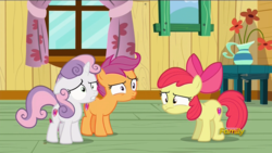 Size: 1920x1080   Tagged: safe, screencap, apple bloom, scootaloo, sweetie belle, on your marks, clubhouse, confused, crusaders clubhouse, cutie mark, cutie mark crusaders, discovery family logo, the cmc's cutie marks