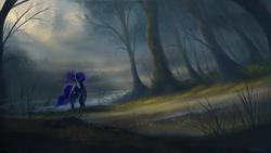 Size: 1920x1080   Tagged: safe, artist:shamanguli, princess luna, alicorn, pony, cloud, crepuscular rays, eyes closed, female, forest, grass, lake, mountain, scenery, scenery porn, solo, tree, water