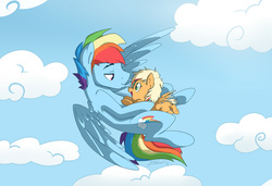 Size: 1990x1361 | Tagged: artist:nolycs, cloud, colored wings, colored wingtips, cute, eye contact, father and daughter, filly, flying, happy, hug, lidded eyes, lip bite, looking at each other, male, next generation, oc, oc:cloud burst, offspring, open mouth, parent:applejack, parent:rainbow blitz, parent:rainbow dash, parents:appleblitz (straight), parents:appledash, pegasus, pony, pouting, rainbow blitz, rainbow dash, rule 63, safe, sky, smiling, spread wings, stallion, underhoof, wings