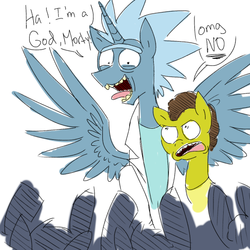Size: 540x540 | Tagged: artist needed, safe, alicorn, earth pony, pony, 4chan, alicornified, angry, apotheosis, bowing, deified alicorn, dialogue, male alicorn, morty smith, ponified, race swap, rick and morty, rick sanchez, sketch, worship