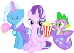 Size: 2254x1622 | Tagged: safe, artist:glessmlp, artist:jeatz-axl, artist:tardifice, hundreds of users filter this tag, spike, starlight glimmer, trixie, pony, unicorn, bedroom eyes, drinking, eyes closed, female, food, hat, levitation, magic, male, mare, popcorn, shipping, smiling, soda, sparlight, sparlixie, straight, telekinesis, the amazing trio of friendship, trixie's cape, trixie's hat