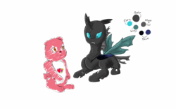 Size: 1280x800   Tagged: safe, artist:galaxcina7499, changeling, care bears, confused, reference sheet, sitting