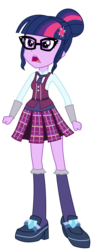 Size: 1366x3600 | Tagged: safe, artist:sketchmcreations, sci-twi, twilight sparkle, equestria girls, friendship games, angry, clothes, commission, crystal prep academy, crystal prep academy uniform, crystal prep shadowbolts, female, glasses, high heels, inkscape, open mouth, pleated skirt, school uniform, shoes, simple background, skirt, socks, solo, transparent background, vector