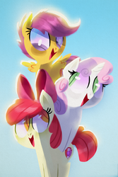 Size: 1000x1500 | Tagged: safe, artist:talonsofwater, apple bloom, scootaloo, sweetie belle, adorabloom, cute, cutealoo, cutie mark, cutie mark crusaders, diasweetes, leaning, looking down, looking up, open mouth, smiling, the cmc's cutie marks, tower of pony