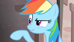 Size: 1360x768 | Tagged: safe, screencap, rainbow dash, the cutie map, raised eyebrow, raised hoof, scrunchy face, solo
