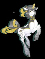 Size: 1024x1331 | Tagged: safe, artist:rannarbananar, oc, oc only, oc:aegis ura, pony, unicorn, zebracorn, curved horn, female, golden eyes, golden ribben, gray mane, mare, outfit, ribbon, solo, stripped legs, white coat, zebra ancestory