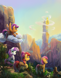 Size: 1600x2036   Tagged: safe, artist:viwrastupr, apple bloom, babs seed, scootaloo, sweetie belle, twilight sparkle, earth pony, pegasus, pony, unicorn, adorababs, adorabloom, adventure, cute, cutealoo, cutie mark, cutie mark crusaders, diasweetes, female, filly, scenery, scenery porn, smiling, the cmc's cutie marks