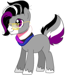 Size: 576x630 | Tagged: safe, artist:acluigiyoshi, artist:vampiresuper-sayajin, oc, oc only, oc:metten monotone, pony, asexual, asexual pride flag, genderfluid, genderfluid pride flag, glasses, hipster, ponified, ponysona, pride, pride ponies, simple background, solo, transparent background