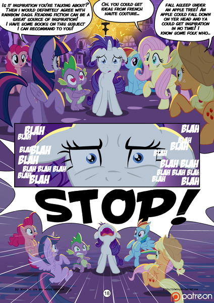 Size: 2894x4093 | Tagged: absurd res, alicorn, applejack, artist:foxy-noxy, artist:mister-saugrenu, comic, comic:art block, female, fluttershy, mane six, mare, nose in the air, patreon, pinkie pie, pony, princess twilight, rainbow dash, rarity, safe, spike, twilight sparkle, wingding eyes, yelling