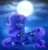 Size: 1280x1323 | Tagged: dead source, safe, artist:fluffymaiden, princess luna, alicorn, pony, cloud, cute, female, full moon, heart eyes, lunabetes, mare, moon, night, prone, sky, solo, starry night, stars, wingding eyes