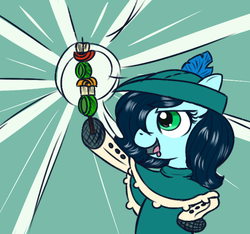 Size: 640x600   Tagged: safe, alternate version, artist:ficficponyfic, color edit, edit, edited edit, oc, oc only, oc:emerald jewel, earth pony, pony, colt quest, alternate color palette, child, clothes, color, colored, colt, drool, femboy, foal, hair over one eye, hat, male, proud, shishkebab, solo, star burst, trap, young
