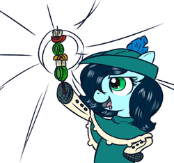 Size: 640x600   Tagged: safe, alternate version, artist:ficficponyfic, color edit, edit, edited edit, oc, oc only, oc:emerald jewel, earth pony, pony, colt quest, alternate color palette, child, clothes, color, colored, colt, drool, femboy, foal, food, hair over one eye, hat, male, proud, shishkebab, simple background, solo, star burst, trap, young