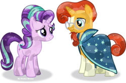 Size: 4553x3029   Tagged: safe, artist:vector-brony, starlight glimmer, sunburst, crystal pony, pony, the crystalling, absurd resolution, alternate hairstyle, cape, clothes, crystallized, glasses, goatee, simple background, transparent background, vector