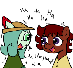 Size: 640x600   Tagged: safe, artist:ficficponyfic, artist:methidman, color edit, edit, oc, oc only, oc:emerald jewel, oc:ruby rouge, colt quest, child, clothes, color, colored, colt, female, femboy, filly, foal, hat, laughing, male, nervous grin, nervous laugh, tomboy