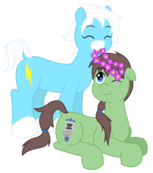 Size: 620x702 | Tagged: safe, artist:voltrathelively, oc, oc only, oc:takapone, oc:voltpone, duo, floral head wreath