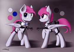 Size: 2028x1423 | Tagged: safe, artist:freeedon, oc, oc only, flamethrower, goggles, reference sheet, solo, weapon