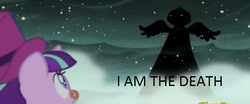 Size: 583x243 | Tagged: safe, edit, edited screencap, screencap, princess luna, snowfall frost, spirit of hearth's warming yet to come, starlight glimmer, a hearth's warming tail, caption, death, hood, looking up, silhouette, snow, snowfall, spread wings